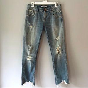 EUC Zara basic distressed boyfriend crop jeans 2